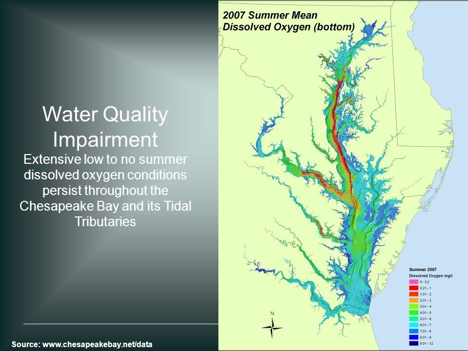 Water Quality Impairment Extensive low to no summer dissolved oxygen conditions persist throughout the Chesapeake Bay and its Tidal Tributaries Source