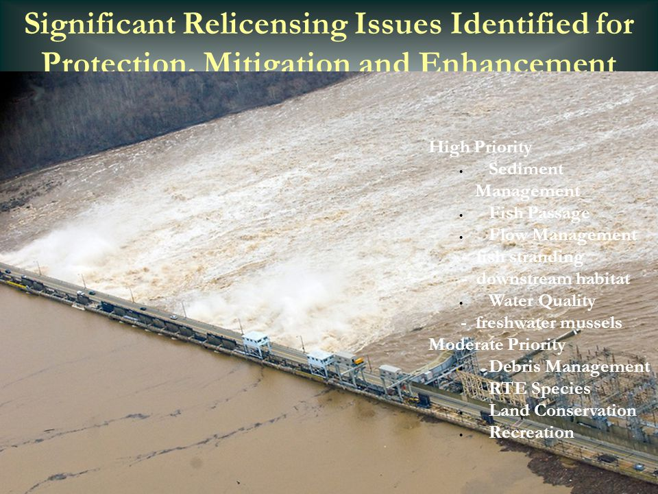 Significant Relicensing Issues Identified for Protection, Mitigation and Enhancement High Priority  Sediment Management  Fish Passage  Flow Managem
