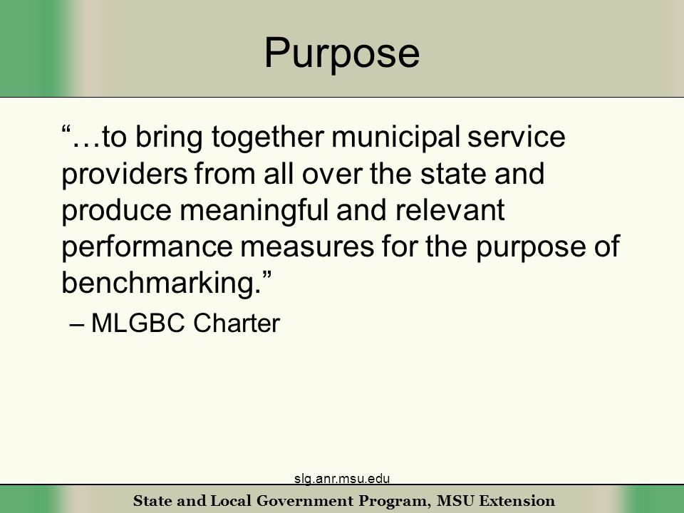 State and Local Government Program, MSU Extension Purpose …to bring together municipal service providers from all over the state and produce meaningful and relevant performance measures for the purpose of benchmarking. –MLGBC Charter slg.anr.msu.edu