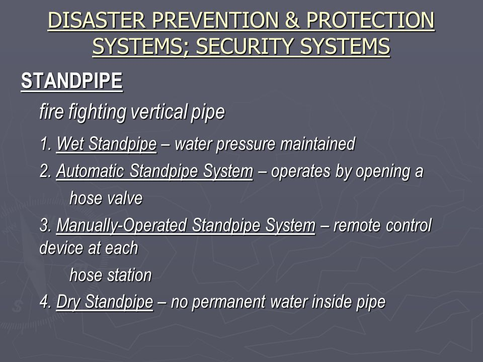 DISASTER PREVENTION & PROTECTION SYSTEMS; SECURITY SYSTEMS STANDPIPE fire fighting vertical pipe 1.