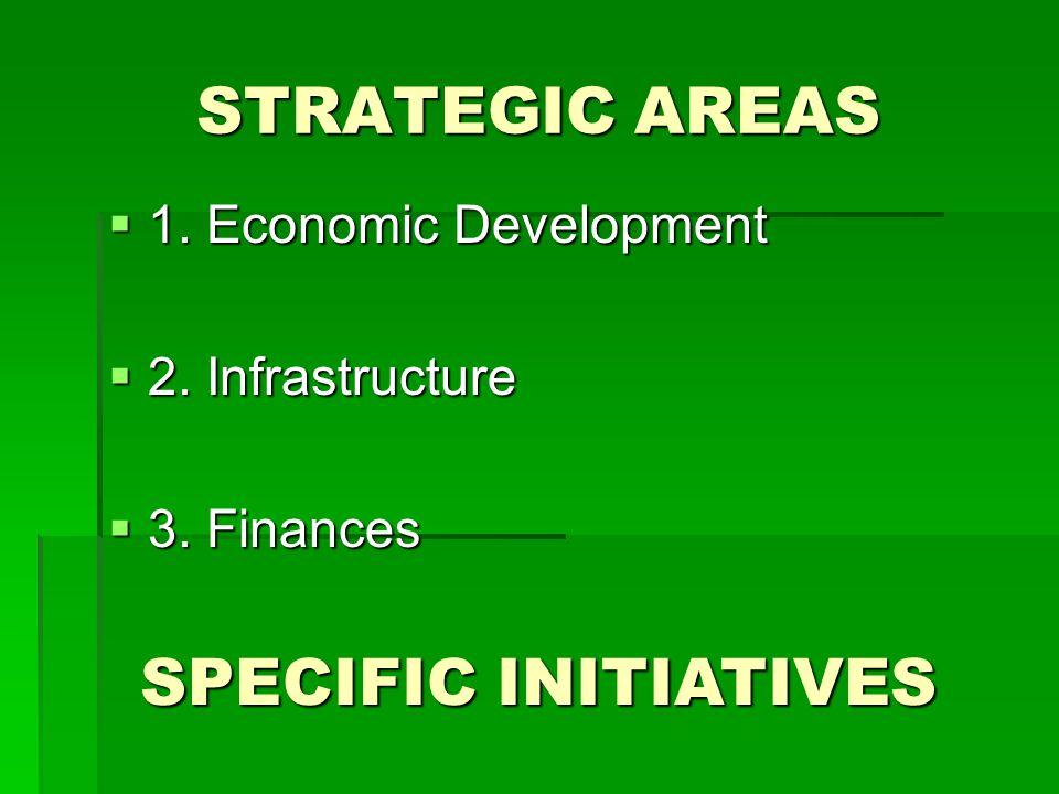 STRATEGIC AREAS  1. Economic Development  2. Infrastructure  3. Finances SPECIFIC INITIATIVES