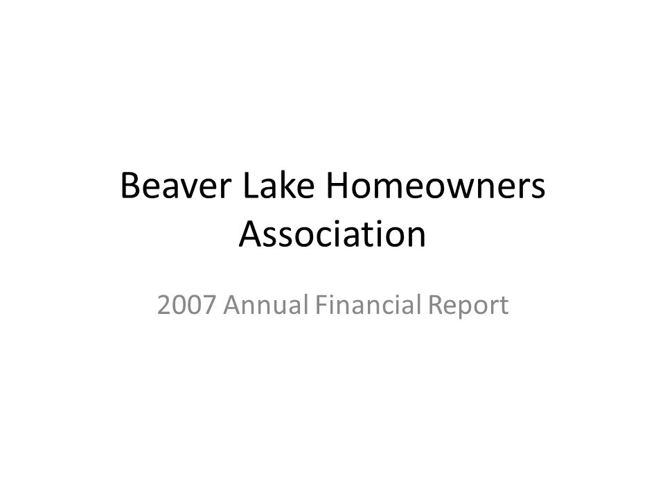 Beaver Lake Homeowners Association 2007 Annual Financial Report