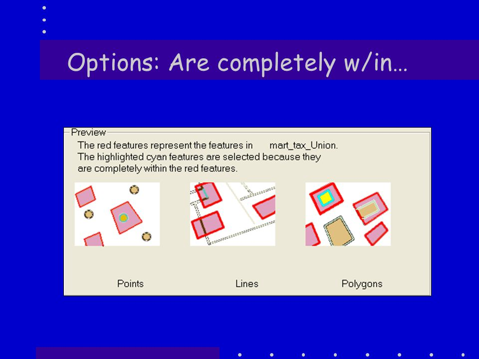 Options: w/in a distance of…