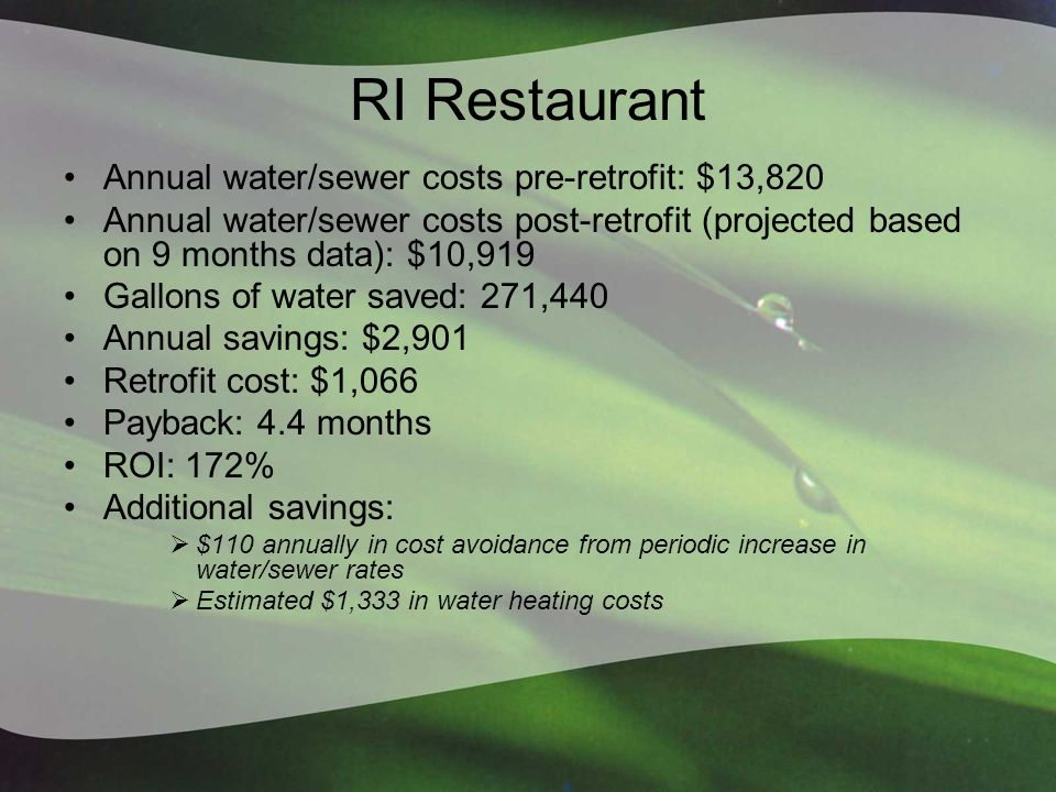 RI Restaurant Annual water/sewer costs pre-retrofit: $13,820 Annual water/sewer costs post-retrofit (projected based on 9 months data): $10,919 Gallons of water saved: 271,440 Annual savings: $2,901 Retrofit cost: $1,066 Payback: 4.4 months ROI: 172% Additional savings:  $110 annually in cost avoidance from periodic increase in water/sewer rates  Estimated $1,333 in water heating costs