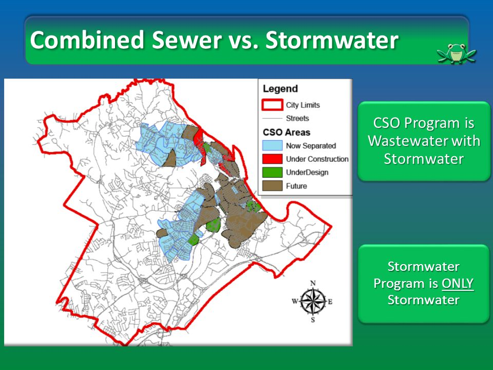 Historic Stormwater Problems Existing Stormwater Program Stormwater Program is ONLY Stormwater Historic Combined Sewer Problems City Long Term Control Plan for CSO CSO Program is Wastewater with Stormwater Combined Sewer vs.