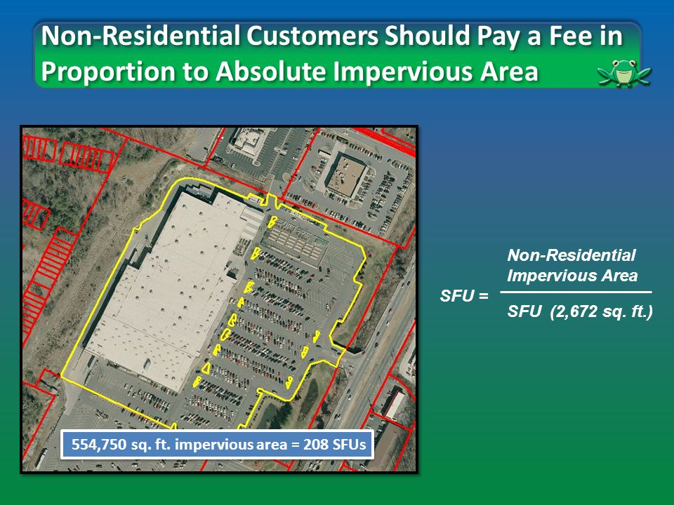 Non-Residential Customers Should Pay a Fee in Proportion to Absolute Impervious Area Non-Residential Impervious Area SFU = SFU (2,672 sq.