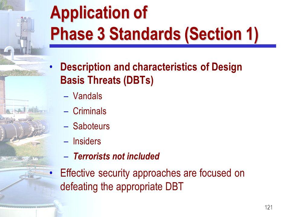 121 Application of Phase 3 Standards (Section 1) Description and characteristics of Design Basis Threats (DBTs) –Vandals –Criminals –Saboteurs –Inside