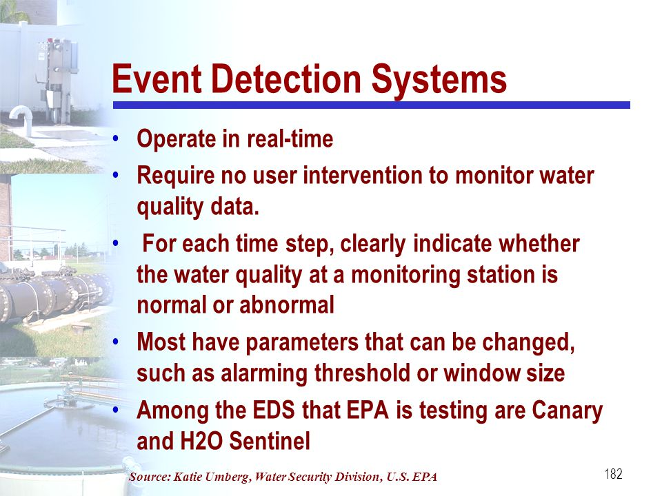 182 Event Detection Systems Operate in real-time Require no user intervention to monitor water quality data. For each time step, clearly indicate whet