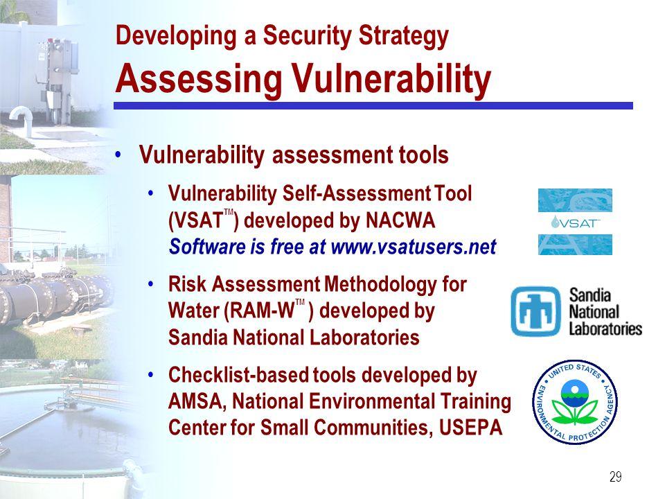 29 Vulnerability assessment tools Vulnerability Self-Assessment Tool (VSAT TM ) developed by NACWA Software is free at www.vsatusers.net Risk Assessme