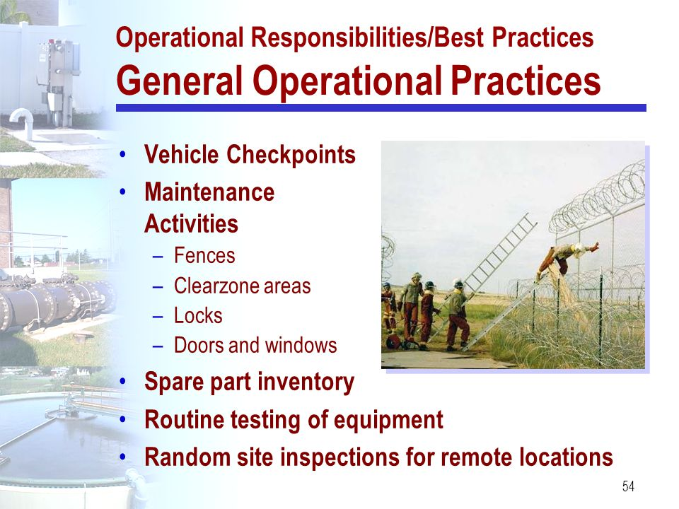 54 Vehicle Checkpoints Maintenance Activities –Fences –Clearzone areas –Locks –Doors and windows Spare part inventory Routine testing of equipment Ran