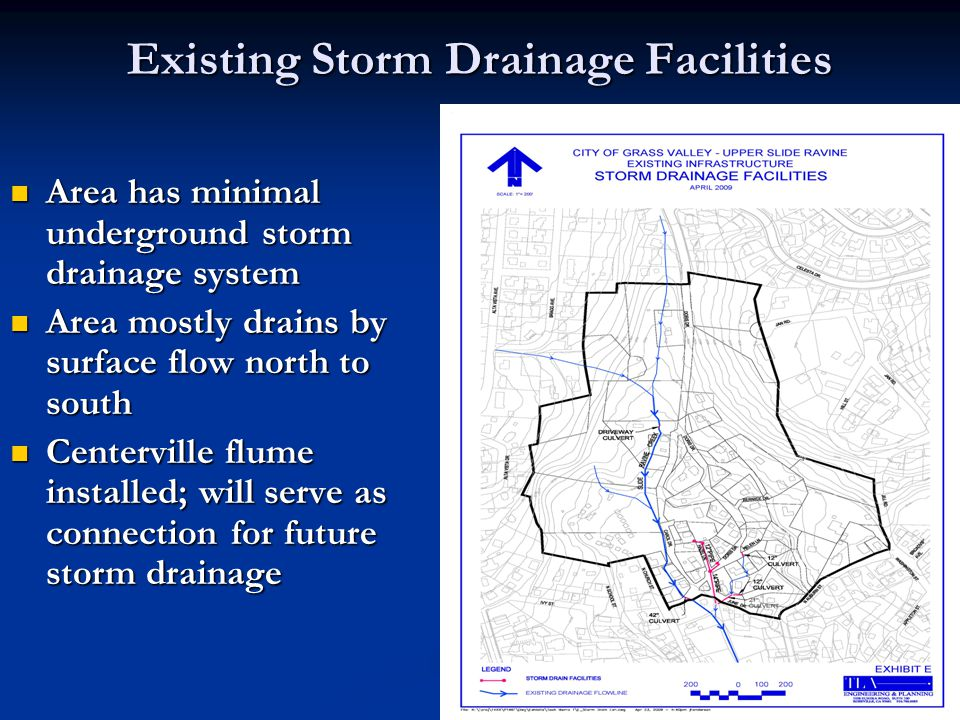 Existing Storm Drainage Facilities Area has minimal underground storm drainage system Area has minimal underground storm drainage system Area mostly d