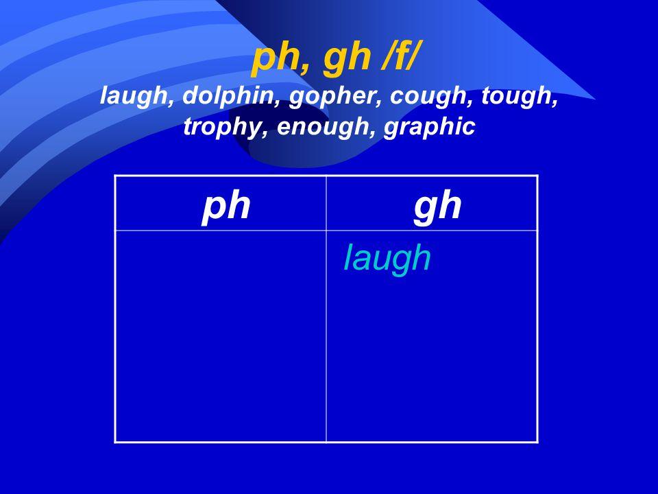 ph, gh /f/ laugh, dolphin, gopher, cough, tough, trophy, enough, graphic ph gh laugh