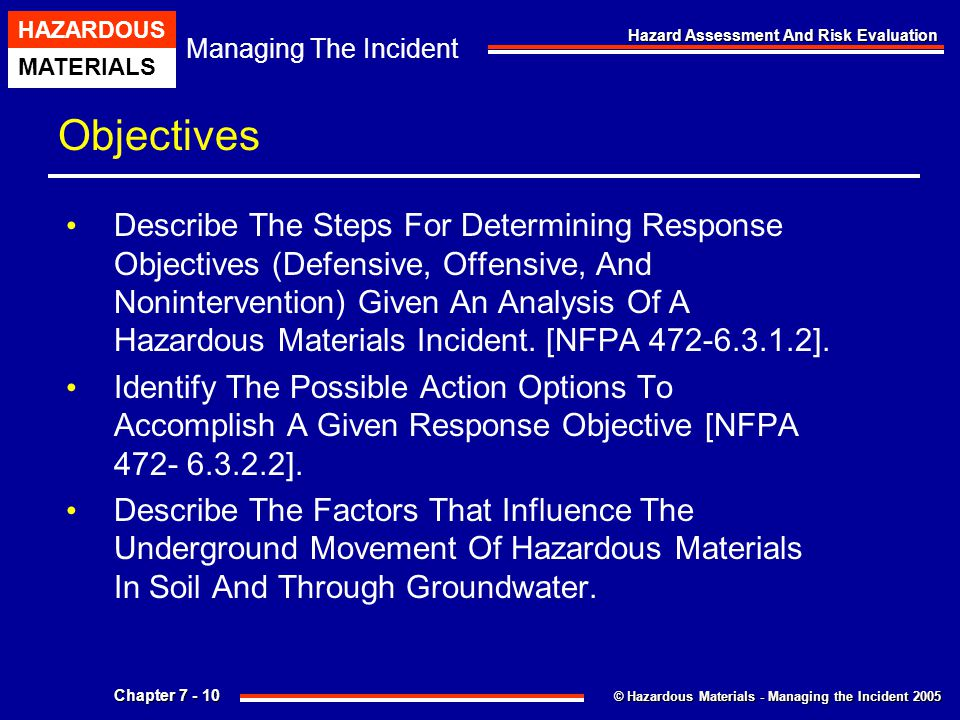 © Hazardous Materials - Managing the Incident 2005 Managing The Incident HAZARDOUS MATERIALS Chapter 7 - 10 Hazard Assessment And Risk Evaluation Obje