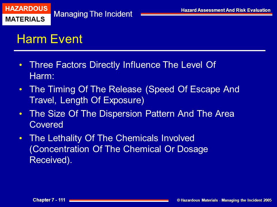 © Hazardous Materials - Managing the Incident 2005 Managing The Incident HAZARDOUS MATERIALS Chapter 7 - 111 Hazard Assessment And Risk Evaluation Har