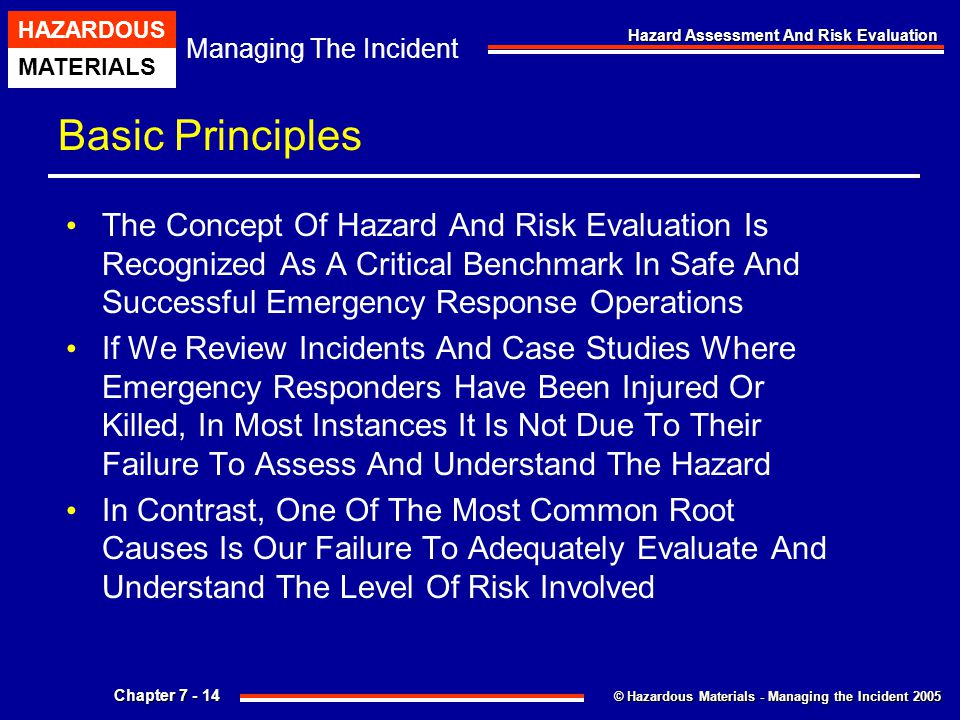 © Hazardous Materials - Managing the Incident 2005 Managing The Incident HAZARDOUS MATERIALS Chapter 7 - 14 Hazard Assessment And Risk Evaluation Basi