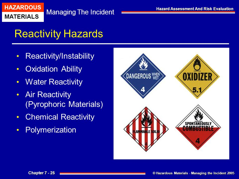 © Hazardous Materials - Managing the Incident 2005 Managing The Incident HAZARDOUS MATERIALS Chapter 7 - 25 Hazard Assessment And Risk Evaluation Reac