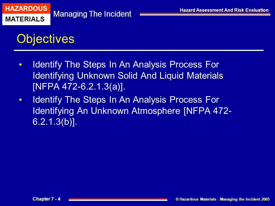 © Hazardous Materials - Managing the Incident 2005 Managing The Incident HAZARDOUS MATERIALS Chapter 7 - 4 Hazard Assessment And Risk Evaluation Objec