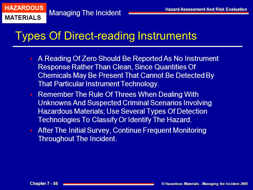 © Hazardous Materials - Managing the Incident 2005 Managing The Incident HAZARDOUS MATERIALS Chapter 7 - 55 Hazard Assessment And Risk Evaluation Type