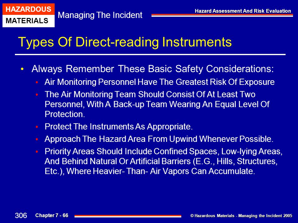 © Hazardous Materials - Managing the Incident 2005 Managing The Incident HAZARDOUS MATERIALS Chapter 7 - 66 Hazard Assessment And Risk Evaluation Type