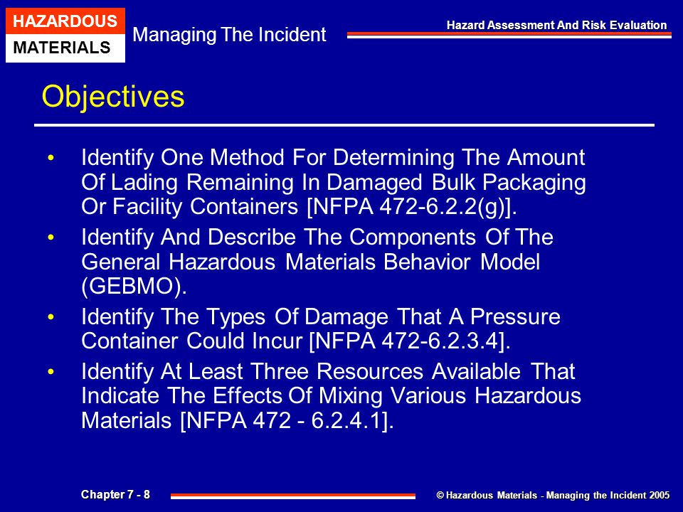 © Hazardous Materials - Managing the Incident 2005 Managing The Incident HAZARDOUS MATERIALS Chapter 7 - 139 Hazard Assessment And Risk Evaluation Wastewater System Operations Where The Terrain Is Flat, The Collection System May Consist Solely Of Gravity Piping.