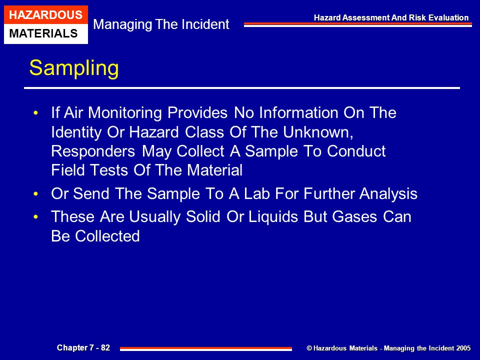 © Hazardous Materials - Managing the Incident 2005 Managing The Incident HAZARDOUS MATERIALS Chapter 7 - 82 Hazard Assessment And Risk Evaluation Samp