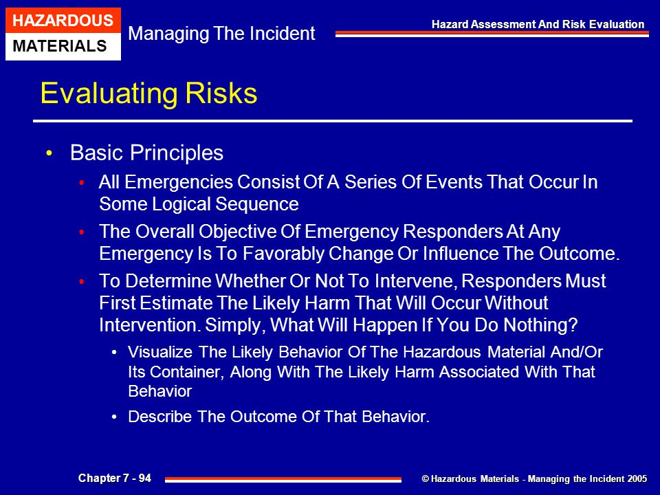 © Hazardous Materials - Managing the Incident 2005 Managing The Incident HAZARDOUS MATERIALS Chapter 7 - 94 Hazard Assessment And Risk Evaluation Eval