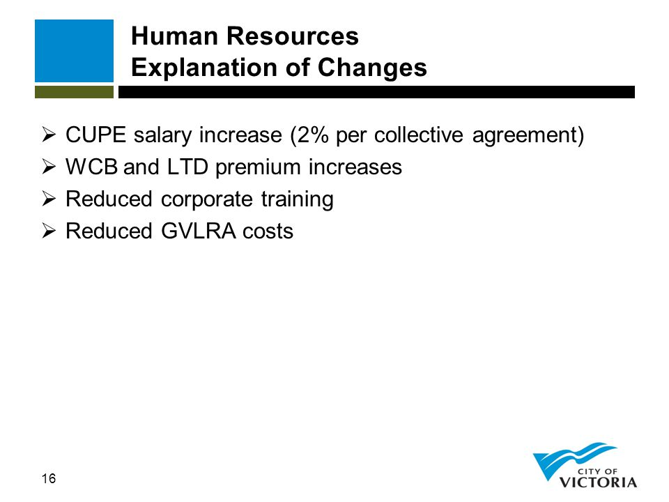 16 Human Resources Explanation of Changes  CUPE salary increase (2% per collective agreement)  WCB and LTD premium increases  Reduced corporate tra
