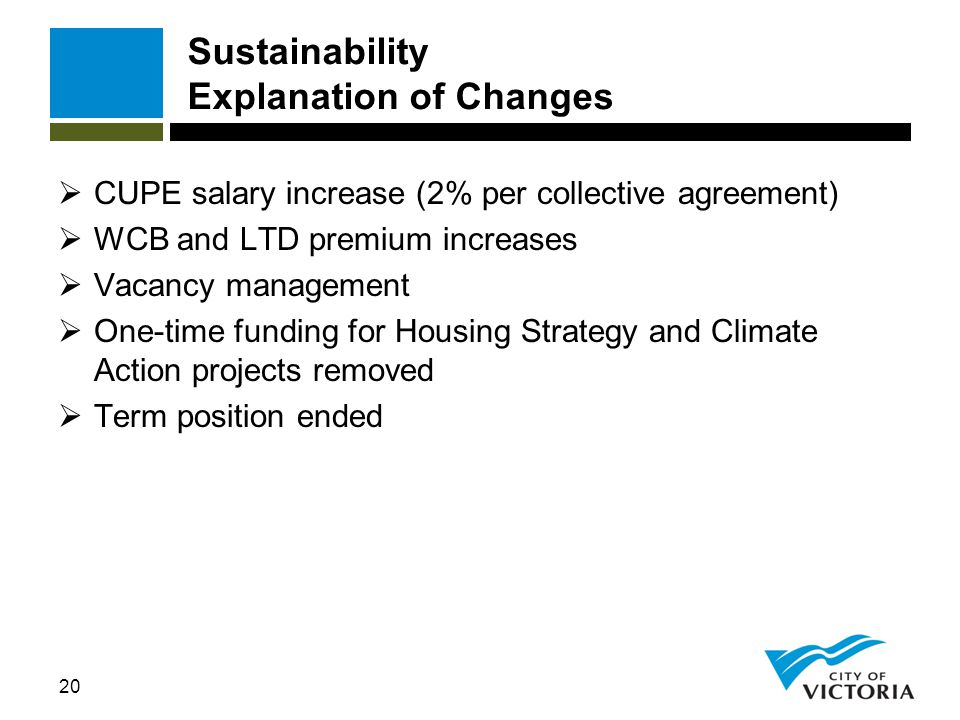 20 Sustainability Explanation of Changes  CUPE salary increase (2% per collective agreement)  WCB and LTD premium increases  Vacancy management  O
