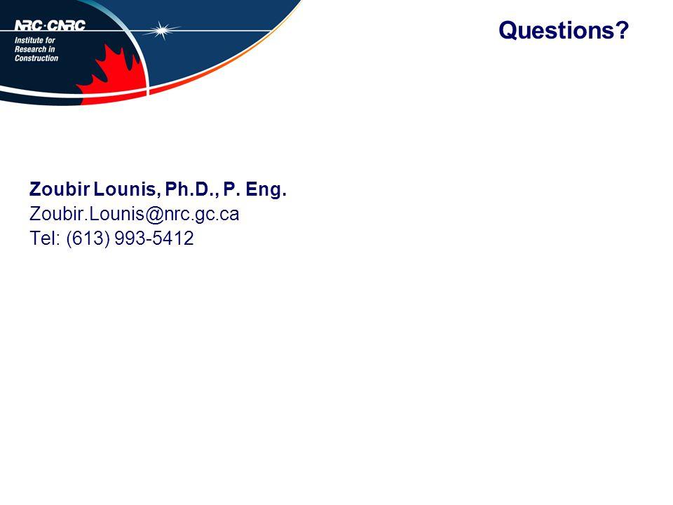 Questions? Zoubir Lounis, Ph.D., P. Eng. Zoubir.Lounis@nrc.gc.ca Tel: (613) 993-5412