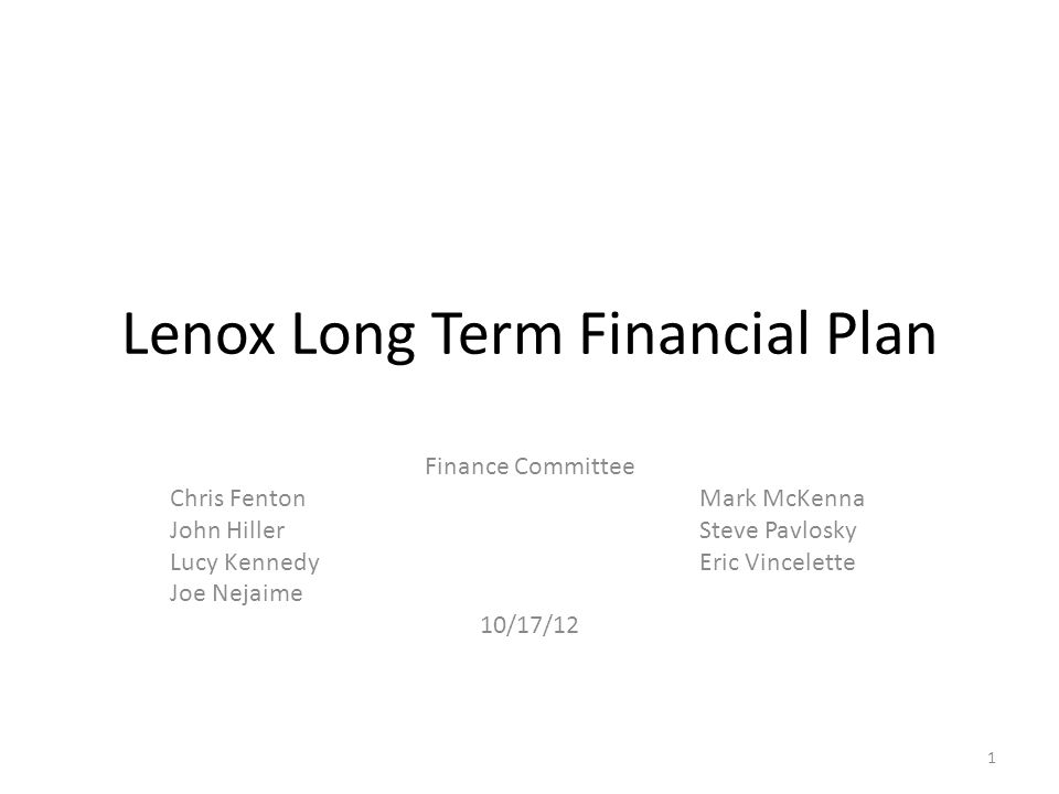 This Presentation General underlying factors Opportunities and challenges particular to Lenox Debts and liabilities to manage around 10 year projection of recurring revenues and expenses Capital requests Recommendations 2