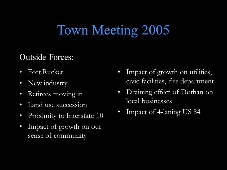 Fort Rucker New industry Retirees moving in Land use succession Proximity to Interstate 10 Impact of growth on our sense of community Impact of growth on utilities, civic facilities, fire department Draining effect of Dothan on local businesses Impact of 4-laning US 84 Outside Forces: Town Meeting 2005