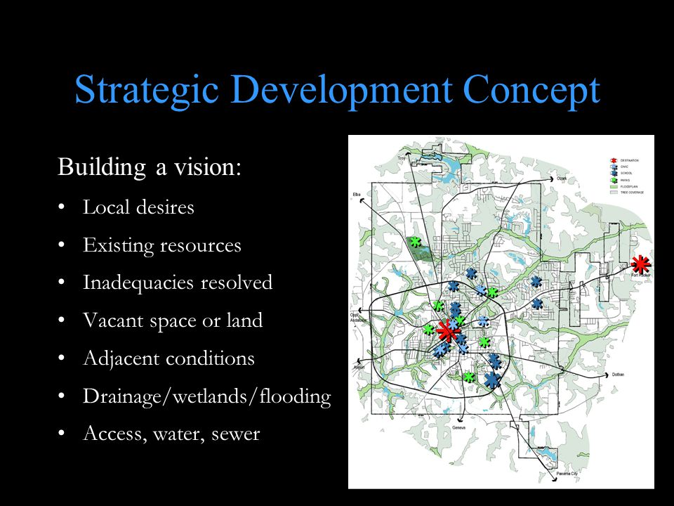 Strategic Development Concept Building a vision: Local desires Existing resources Inadequacies resolved Vacant space or land Adjacent conditions Drainage/wetlands/flooding Access, water, sewer