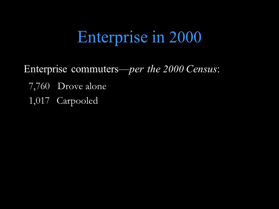 Enterprise in 2000 Enterprise commuters—per the 2000 Census: 7,760 Drove alone 1,017 Carpooled