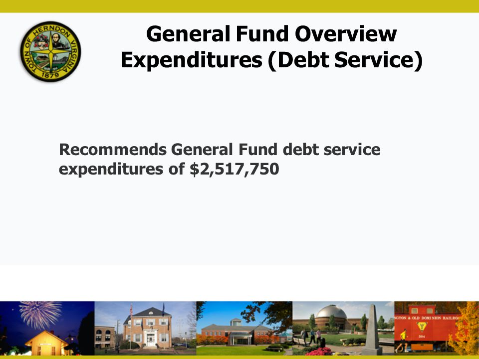 General Fund Overview Expenditures (Debt Service) Recommends General Fund debt service expenditures of $2,517,750