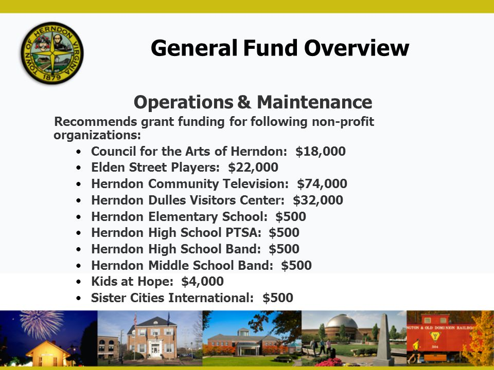 General Fund Overview Operations & Maintenance Recommends grant funding for following non-profit organizations: Council for the Arts of Herndon: $18,0