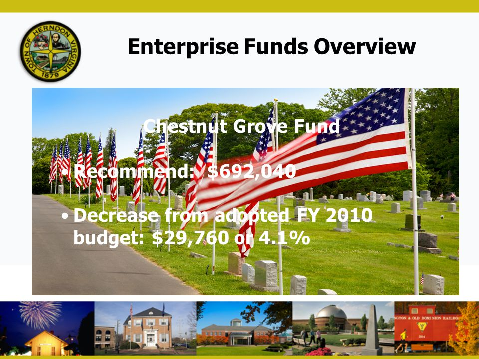 Enterprise Funds Overview Chestnut Grove Fund Recommend: $692,040 Decrease from adopted FY 2010 budget: $29,760 or 4.1%