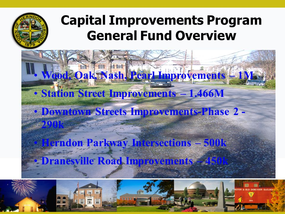 Capital Improvements Program General Fund Overview Wood, Oak, Nash, Pearl Improvements – 1M Station Street Improvements – 1.466M Downtown Streets Impr