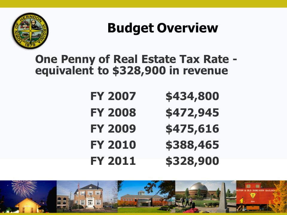 Budget Overview One Penny of Real Estate Tax Rate - equivalent to $328,900 in revenue FY 2007$434,800 FY 2008$472,945 FY 2009$475,616 FY 2010$388,465
