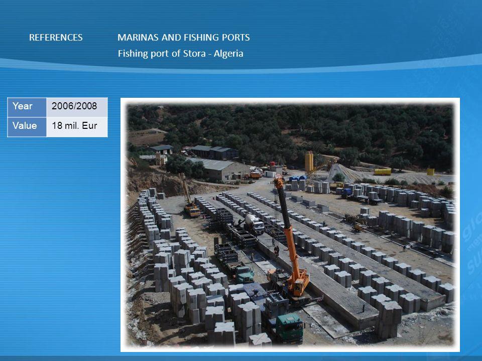 REFERENCESMARINAS AND FISHING PORTS Fishing port of Stora - Algeria Year2006/2008 Value18 mil. Eur