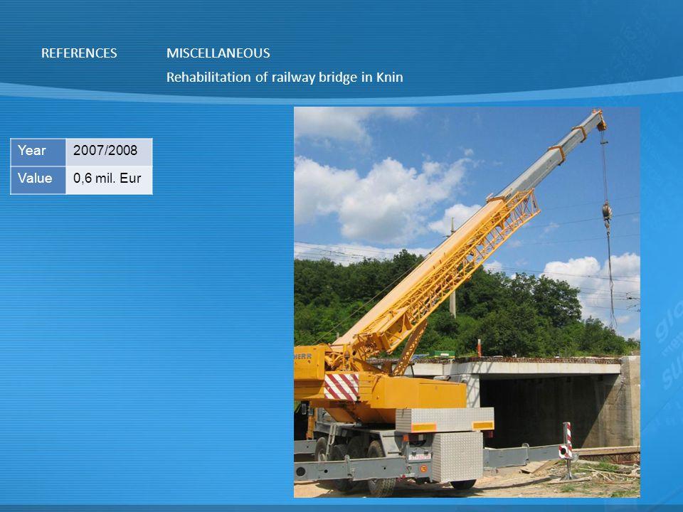 Rehabilitation of railway bridge in Knin REFERENCESMISCELLANEOUS Year2007/2008 Value0,6 mil. Eur