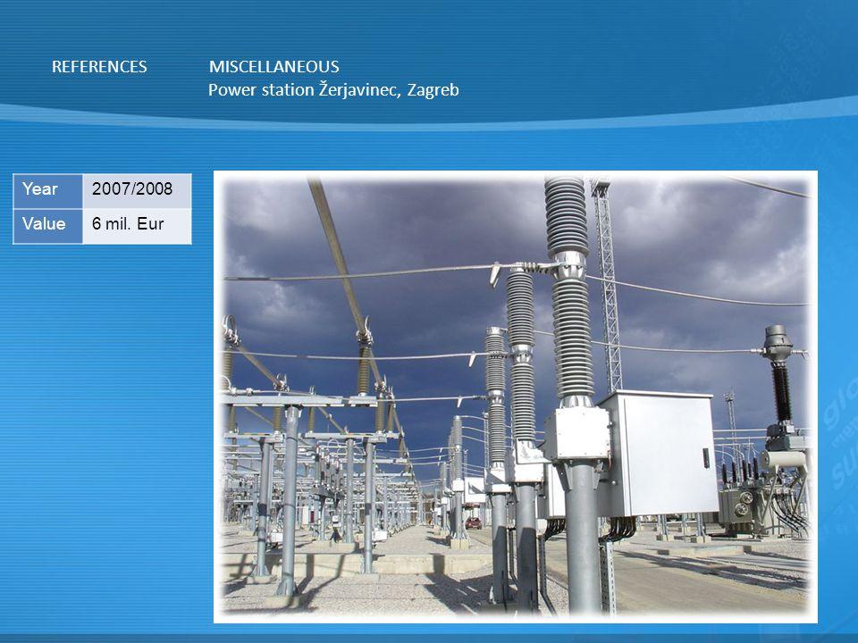 Power station Žerjavinec, Zagreb REFERENCESMISCELLANEOUS Year2007/2008 Value6 mil. Eur