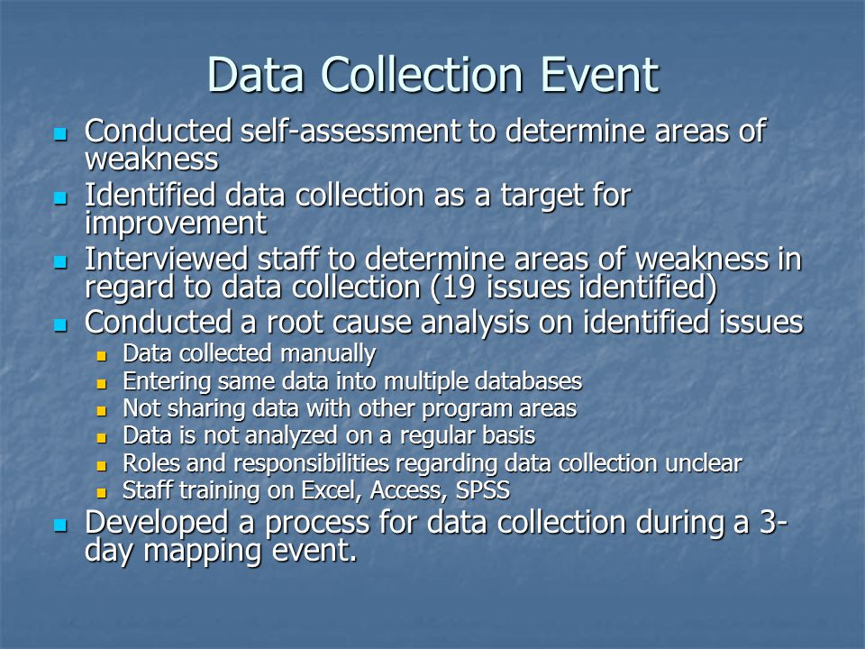 Data Collection Event Conducted self-assessment to determine areas of weakness Conducted self-assessment to determine areas of weakness Identified data collection as a target for improvement Identified data collection as a target for improvement Interviewed staff to determine areas of weakness in regard to data collection (19 issues identified) Interviewed staff to determine areas of weakness in regard to data collection (19 issues identified) Conducted a root cause analysis on identified issues Conducted a root cause analysis on identified issues Data collected manually Data collected manually Entering same data into multiple databases Entering same data into multiple databases Not sharing data with other program areas Not sharing data with other program areas Data is not analyzed on a regular basis Data is not analyzed on a regular basis Roles and responsibilities regarding data collection unclear Roles and responsibilities regarding data collection unclear Staff training on Excel, Access, SPSS Staff training on Excel, Access, SPSS Developed a process for data collection during a 3- day mapping event.