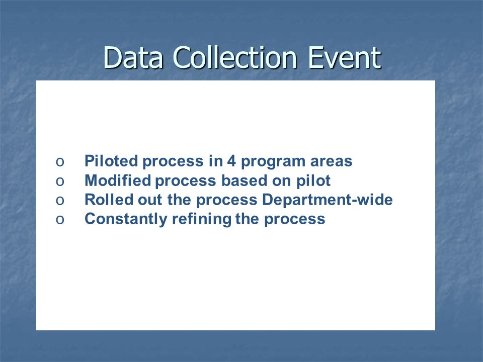 Data Collection Event o Piloted process in 4 program areas o Modified process based on pilot o Rolled out the process Department-wide o Constantly ref