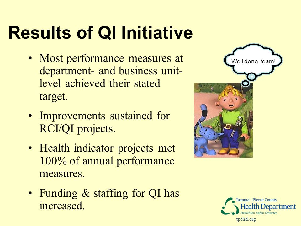 tpchd.org Results of QI Initiative Most performance measures at department- and business unit- level achieved their stated target. Improvements sustai