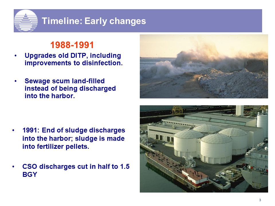 3 Timeline: Early changes 1988-1991 Upgrades old DITP, including improvements to disinfection. Sewage scum land-filled instead of being discharged int