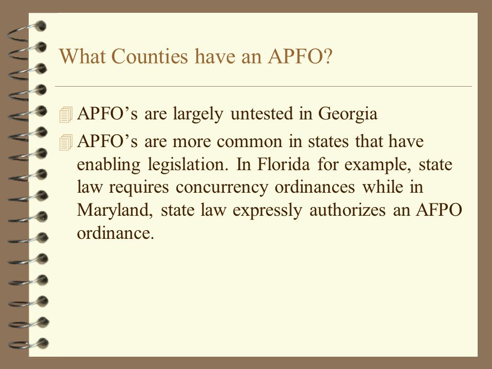 What Counties have an APFO.