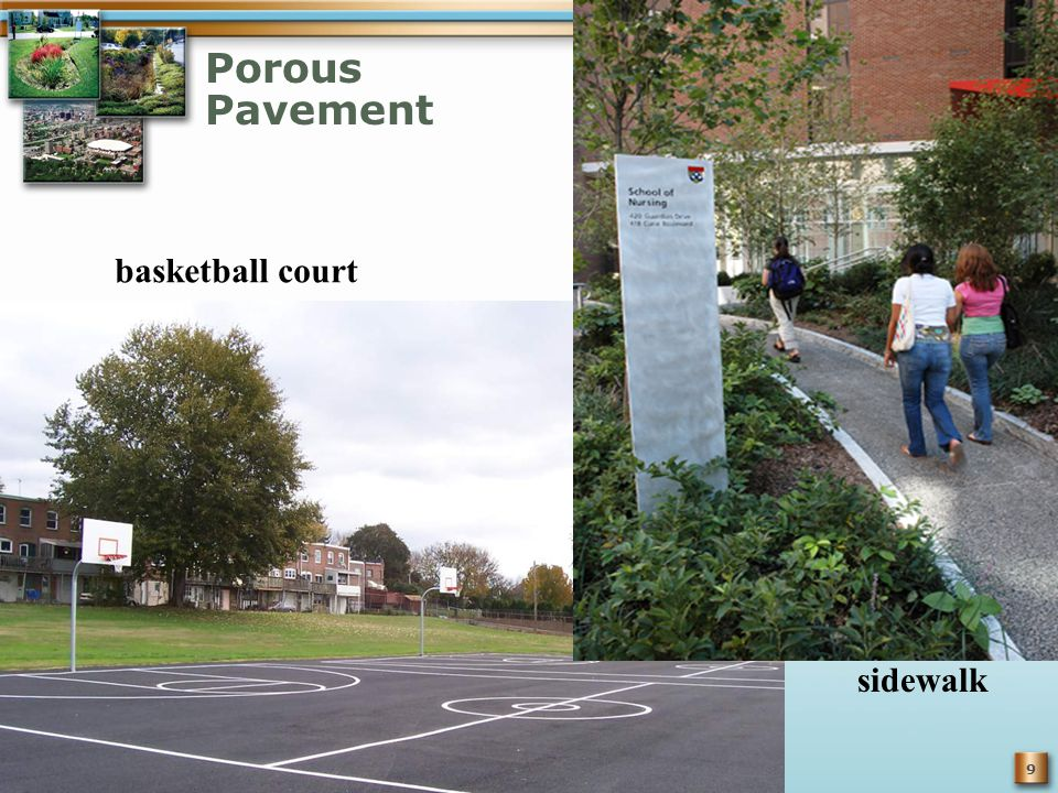 9 Porous Pavement sidewalk basketball court