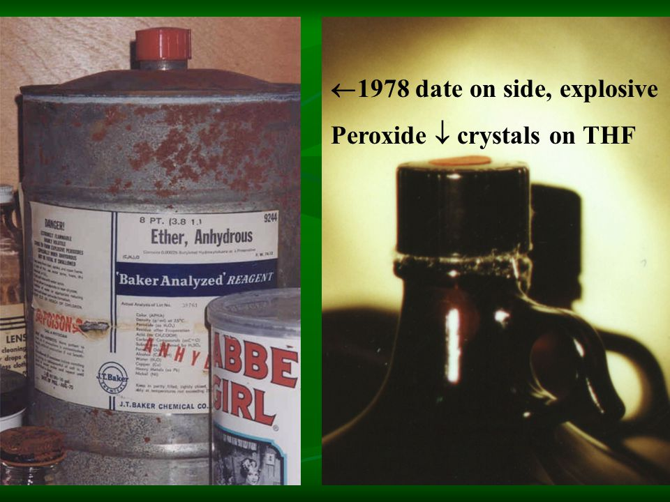  1978 date on side, explosive Peroxide  crystals on THF
