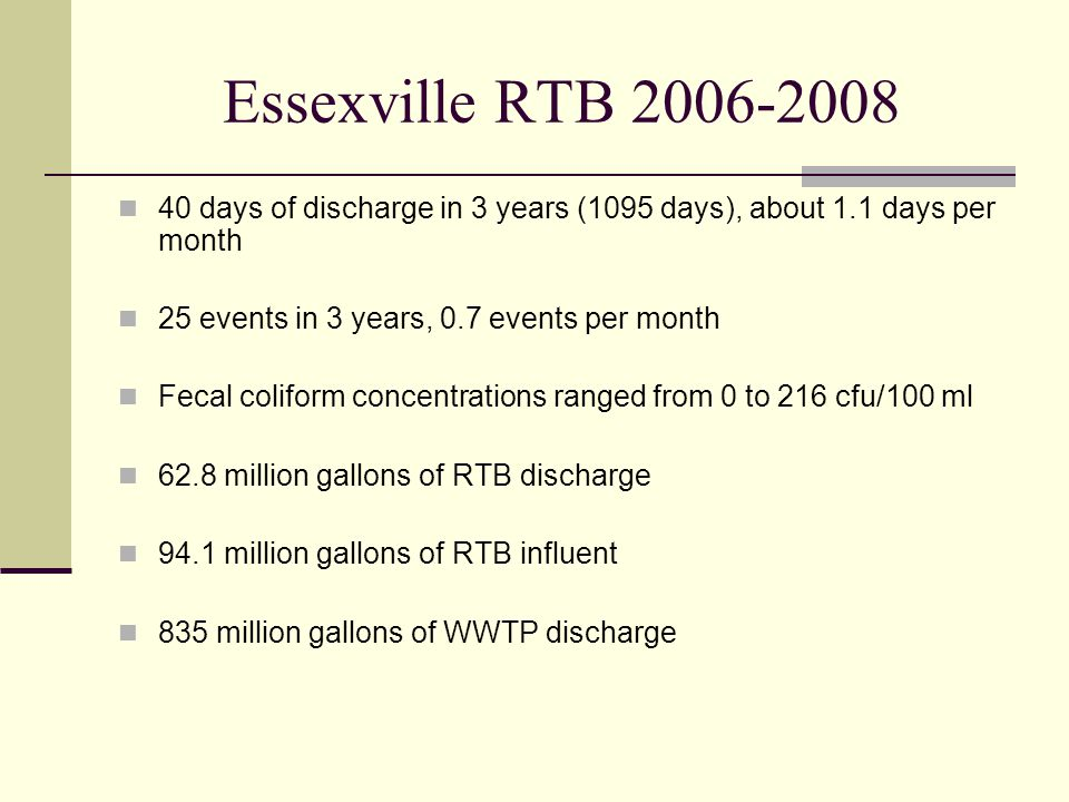 Essexville RTB 2006-2008 40 days of discharge in 3 years (1095 days), about 1.1 days per month 25 events in 3 years, 0.7 events per month Fecal coliform concentrations ranged from 0 to 216 cfu/100 ml 62.8 million gallons of RTB discharge 94.1 million gallons of RTB influent 835 million gallons of WWTP discharge