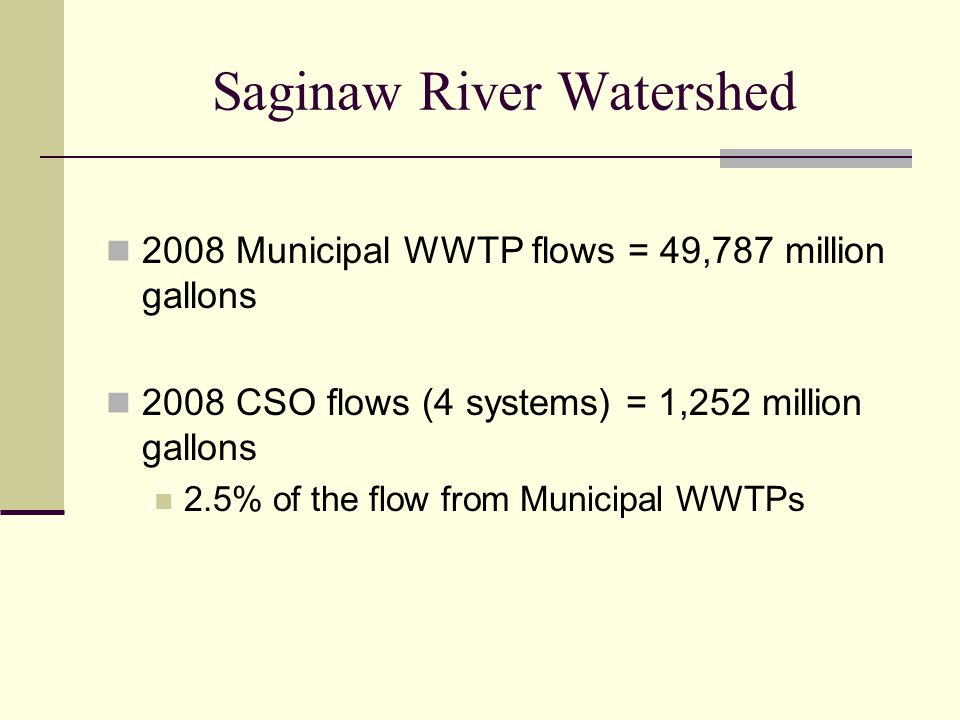 Saginaw River Watershed 2008 Municipal WWTP flows = 49,787 million gallons 2008 CSO flows (4 systems) = 1,252 million gallons 2.5% of the flow from Municipal WWTPs